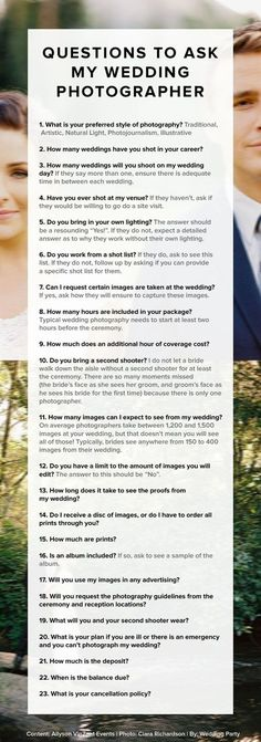 For when you're choosing a photographer: | 17 Useful Wedding Cheat Sheets For Any Bride-To-Be Women, Men and Kids Outfit Ideas on our website at 7ootd.com #ootd #7oo