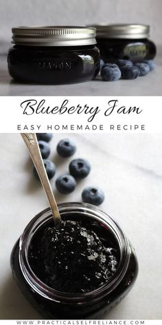 Blueberry Jam Recipes Canning, Blueberry Jam Recipe Without Pectin, Blueberry Recipes, Canning Recipes, Canning Tips, Kitchen Recipes, Homemade Jelly, Easy Homemade Recipes, Blueberry Jelly