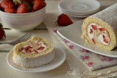 Rotolo panna e fragole, sofficissimo, ideale da servire fresco, perfetto per una cena da amici o semplicemente per la merenda.
