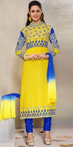Awesome Yellow And Blue Cotton Straight Salwar Suit With Chiffon Dupatta.