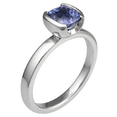 Modern Solitaire Engagement Ring with Cushion Blue Sapphire - Modern in simplicity, sleek and elegant, this hand crafted engagement ring has style that will last a lifetime. 2.5 mm wide.    - This unique engagement ring has been customized with a 1.15 ct cushion cut blue sapphire set in a two cutout head.