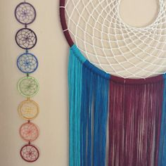 Atrapasueños de arco iris de 7 chakras. 7cm aro diámetro atrapasueños hechos a mano