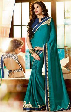 Impressive Blue Color Fashion Saree