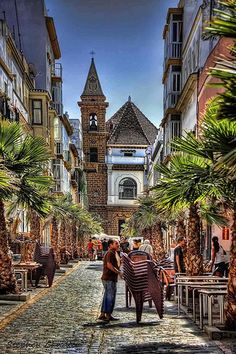 Street scene in Cadiz, Spain. I was there several times when I lived in Seville Spain Places Around The World, Oh The Places You'll Go, Travel Around The World, Places To Travel, Places To Visit, Around The Worlds, Santa Cruz Bolivia, Wonderful Places, Beautiful Places