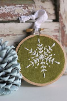 Embroidery Hoop Ornament / Snowflake Tree by ThePennyRunner