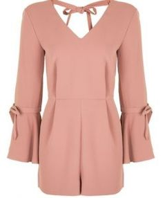 Add pretty details to the playsuit in this cute tailored style, with tie-detail to the trumpet sleeves and back. In a pretty rose hue, its a look thats transferrable from day to night. Red Romper, Long Romper, Long Sleeve Romper, Playsuit Romper, Topshop Tall, Playsuits, Jumpsuits, Tall Women, Sewing