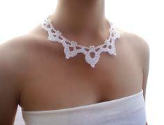 Collar de perlas blanco Puntilla boda rústica Gargantilla nupcial Collar crochet de DIDIcrochet en Etsy