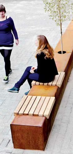Streetlife Contemporary public bench in wood and metal - CORTEN SEAT STRIPS