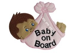 Unique embroidered baby on board signs