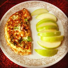 Egg white broccoli and ham omelet with granny smith apples  A Yes You Can! Diet Plan approved healthy breakfast option