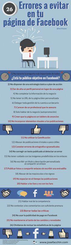 Errores que no debes cometer en tu fanpage de Facebook #Infografía