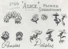 The flowers in Disney& Alice in Wonderland have attitude issues. Friendly at first when a downsized Alice approaches them, but then thei. Alice In Wonderland Flowers, Alice And Wonderland Tattoos, Alice In Wonderland Tea Party, Alice In Wonderland Artwork, Disney Drawings, Cool Drawings, Tattoo Drawings, Drawing Disney, Disney Tattoos
