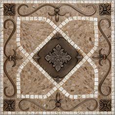 ~ Living a Beautiful Life ~ Foyer Floor medallion. mosaic pebble images | Renaissance Mosaic Medallion
