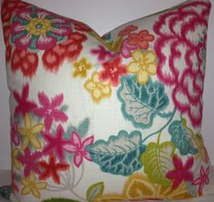 18 x 18 or 20 x 20 pink/teal/gold/green/red floral pillow cover