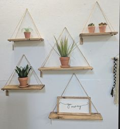 26 Trendy Home Decored For Small Spaces Living Room Hanging Plants Diy Hanging Shelves, Wall Shelf Decor, Wood Wall Shelf, Rope Shelves, Plant Shelves, Wall Shelves, Ledge Shelf, Command Hooks, Home Decor Ideas