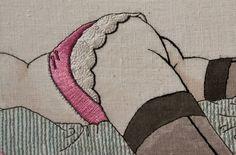Fingerpricks - Really this is obscene but it is great needle work. Embroidery Hoop Art, Cross Stitch Embroidery, Embroidery Patterns, Cross Stitch Patterns, Cross Stitching, Contemporary Embroidery, Thread Art, Fabric Art, Erotic Art