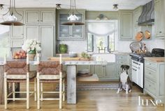 Sage Green Country Kitchen with Dog