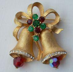 WEISS Book Piece!  Christmas Bells Rhinestone Pin, Vintage Brooch