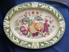 "WCL Oval Platter 17"" Tray Fruit Flowers"