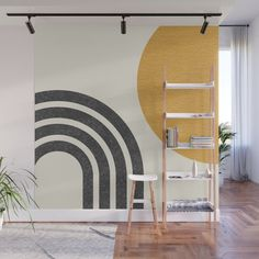 If you've been longing to make a statement in your home, you will be pleased to know that there are loads of gorgeous wall mural ideas to choose from....   Mid-Century Modern Sun and Rainbow #WallMurals #WallDecor #Murals #WallMuralIdeas #WallMural #Mural Modern Wall Paint, Modern Wall Decor, Wall Paint Patterns, Mid Century Modern Bedroom, Mid Century Modern Colors, Mid Century Decor, Mid Century Modern Design, Interior Walls, Interior Design