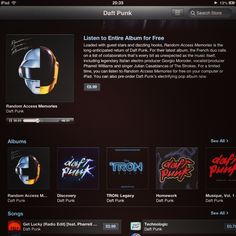 Daft Punk - Random Access Memories. Free listen to the whole album. Love it.