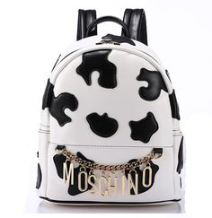 Moschino Cow's Bag Women Large Leather Backpack White - moschinooutlet2015.com