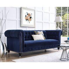 Dark Blue Velvet Chesterfield Tufted Sofa