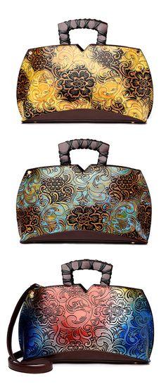 Retro Embroidery Leather Tote Bag /Crossbody Bag #style #fashion