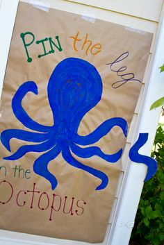 """Under the Sea party games. Pin the leg on the octopus - paint octopus on craft paper or poster board, cut out """"legs"""" form blue paper & instant game!"""