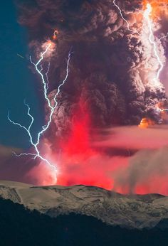 Ash, lightning volcanic eruption