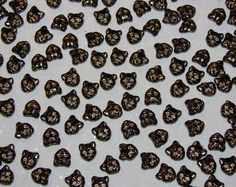 CZECH PRESSED GLASS-LOOSE BEADS-BLACK-GOLD CAT FACES-16 COUNT-$4.89 | eBay