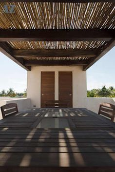 """This house is located on the tropical coast of Yucatan, Mexico, its keynote idea being to confuse the borders existing between the """"inside"""" and the """"outside"""". Pergola Designs, House 2, Home Deco, Ideas Para, Gazebo, Outdoor Living, Backyard, Outdoor Structures, Barbecue"""