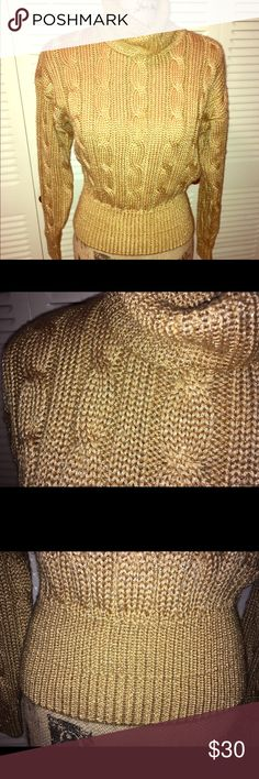 "Liz Claiborne elegant gold cable knit sweater The sweater is gorgeous. It is a chunky cable knit but very soft. Measurements: armpit to armpit 19"". Length, straight down the back to bottom hem 20.5"". 🌺Thank you for checking out my Closet and please feel free to ask any questions. I consider all reasonable offers🌺 Liz Claiborne Sweaters Cowl & Turtlenecks"