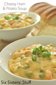 Cheesy Ham and Potato Soup on SixSistersStuff.com- perfect for a fall day!