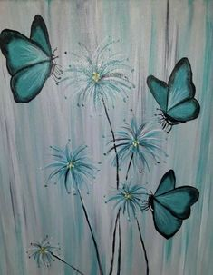 Easy Canvas Painting, Tole Painting, Diy Painting, Painting & Drawing, Canvas Art, Canvas Paintings, Butterfly Art, Flower Art, Butterflies
