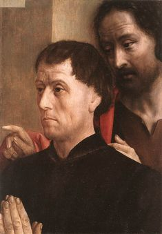 Portrait of a Man of Prayer with St. John the Baptist - Hugo van der Goes
