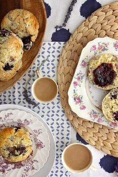 blackberry lavender scones by joy the baker - made May 2014; very good, prominent lavender flavor, made with frozen blackberries