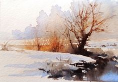 Résultat d'images pour Winter Watercolor Tree Watercolor Landscape Paintings, Watercolor Pictures, Watercolor Trees, Watercolor Artwork, Watercolor Sketch, Watercolor Artists, Abstract Landscape, Easy Watercolor, Watercolor Cards