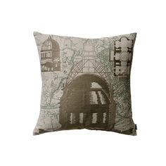 "Duomo Pillow 18"" x 18"", 100% cotton, hand screen-printed and embroidered, removable polyfill insert, back opening with tie closure.   — Passport Goods"