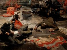 Not sure who painted this. Dean Cornwell maybe ? Incredible story telling and expression