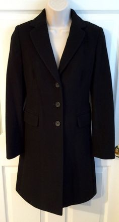 BANANA Republic Womens XS 100% Wool Dress Coat Black Lined Career Long Classic  | eBay