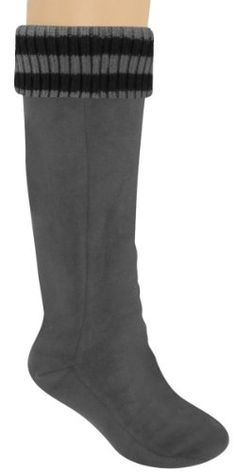WANT!  Capelli New York Ladies Tall Rain Boot Liner With Stripe Cuff Grey Medium
