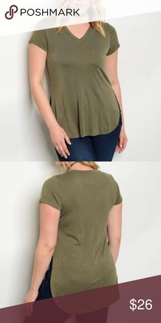 • NEW • SIDE SLIT TEE • V-neck, side slit tee with front pocket. The side slits are both sexy and practical. The slits allow a better, no belly hugging fit! Made in USA. 97% Rayon 3% Spandex Evette Encounters Tops Tees - Short Sleeve