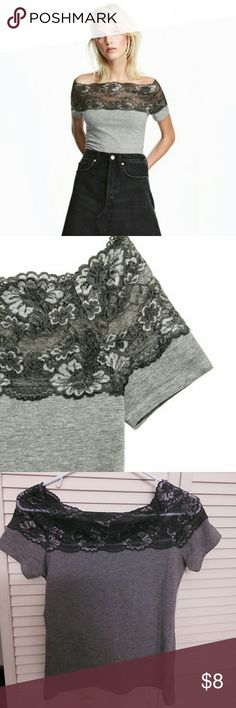 Off shoulder lace top I have a new never worn off the shoulder top. It is light grey with a dark grey lace trim on top. It's a size small. No tears or rips! H&M Tops