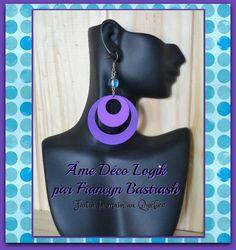 Inspiration rétro boucles d'oreilles cercles de métal mauve et acrylique turquoise, funky, cadeau d'anniversaire noël, fête des mères, party