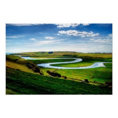The River Cuckmere :- The River Cuckmere rises near Heathfield in East Sussex, England on the southern slopes of the Weald. The name of the river probably comes from an Old English word meaning fast-flowing, since it descends over 100 m in its initial four miles. Eventually flowing into the English Channel, it is the only undeveloped river mouth on the Sussex coast. #river #winding #meander #picturesque #landscape #scenic #scenery #water #estuary #sussex #england