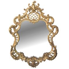 Finely Carved French Napoleon III Cartouche-Shaped Mirror