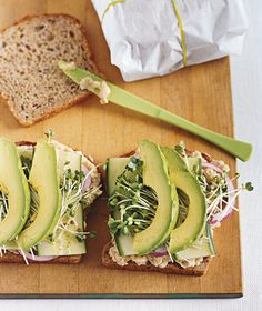 A healthy lunch: Smashed White Bean and Avocado Club.