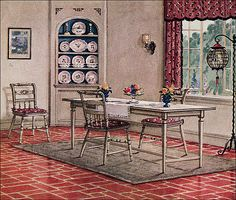Possibly the apex of civilization is a breakfast room . a space entirely dedicated to eating corn flakes and drinking orange juice while the sunlight streams in. 1920s Interior Design, Interior Decorating, Vintage Room, Vintage Decor, 1920s Home Decor, Architecture Design, Tops Vintage, Vintage Ads, Living Room Turquoise