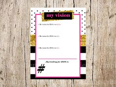 kate spade vision board party package 1 invitation 2 vision worksheet 3 goals - Vision Board Party Invitation
